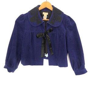 Anthropologie Elevenses Corduroy Lace Crop Jacket